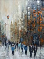 Cityscape - Crowd - Oil On Canvas