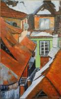 Cityscape - Sighisoare Winter Roofs - Oil On Canvas