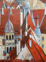 Cityscape - Roofs And Chimneys In Sighisoara - Oil On Canvas
