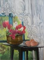 Still Life - Still Life With Red Tulips - Oil On Canvas