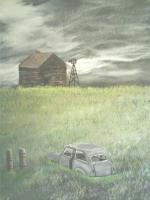 Scenes - Old Car Old House - Acrylic