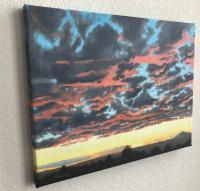 Landscape Oil Paintings - Albuqueruque West Mesa Sunset - Oil Paint