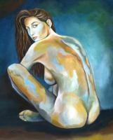 Dim Memories - Acrylic On Canvas Paintings - By Jorge Namerow, Nude Figure Painting Artist