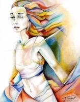 Wind Chime - Pastels Paintings - By Jorge Namerow, Nude Figure Painting Artist