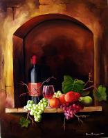 Art - Wine And Fruits - Oil On Canvas