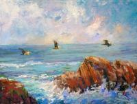 Point Lobos Pelicans - Pastel Paintings - By Lisa Couper, Impressionism Painting Artist