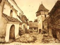 Church From Viscri - Ink Drawings - By Iuliana Sava, Brown And White For Drawings Drawing Artist