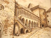 Castle From Hunedoara - Ink Drawings - By Iuliana Sava, Brown And White For Drawings Drawing Artist