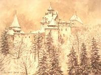 Castle From Bran 3 - Ink Drawings - By Iuliana Sava, Brown And White For Drawings Drawing Artist