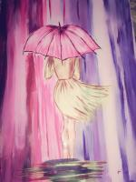 Girl In Rain And Storm - Acrylics Paintings - By Naimishi Nandan, Abstract Painting Artist