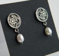 Silver Earrings With Pearls - Silver Work Jewelry - By Shani Shtaingart, Romantic Jewelry Artist