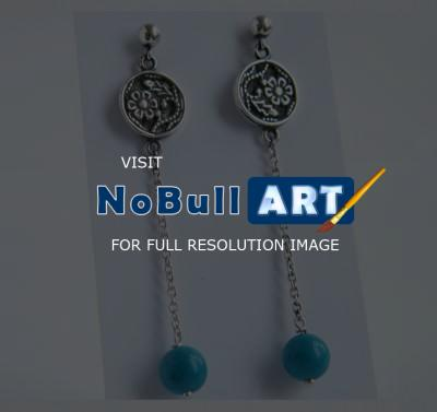 Earrings - Silver Earrings With Turquoise - Silver Work