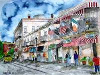 Savannah River Street Georgia Cityscape Art - Water Color Paintings - By Derek Mccrea, Impressionism Painting Artist
