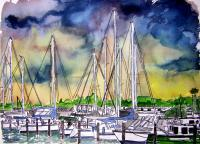 Art Of Derek Mccrea - Melbourne Florida Boat Marina - Watercolor