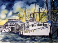 Art Of Derek Mccrea - Tybee Island Gerogia Shrimp Boat - Water Color