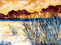 Art Of Derek Mccrea - Coastal Pines Abstract Seascape Art - Water Color