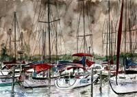 Art Of Derek Mccrea - Sailboats At Night - Watercolor