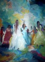 Impressionist - Dancers In Blu Seen - Acrylic
