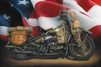 1941 Wla Harley Davidson - Colored Pencil Drawings - By Russell Mckeand, Realism Drawing Artist
