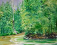 Landscape - Bamboo Forests - Oil On Canvas