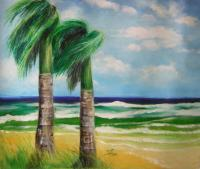 Landscape - Palm Trees In Storm - Oil On Canvas