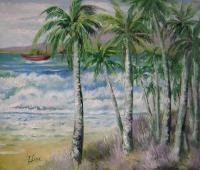 Landscape - Palm Trees And White Currents - Oil On Canvas
