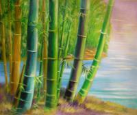 Landscape - Bamboo Green 2 - Oil On Canvas