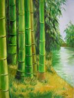 Landscape - Bamboo Green 3 - Oil On Canvas