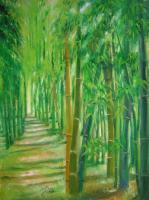 Bamboo Green 4 - Oil On Canvas Paintings - By Lian Zhen, Contemporary Painting Artist