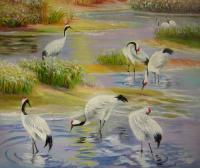 Landscape - Crane Paradise 1 - Oil On Canvas