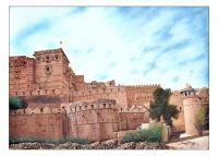 Oil Painting - Fort Of Jesalmer Rajasthan India - Oil On Canvas