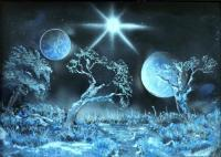 Fantasy World Paintings - Land Of The Stars - Spray Paint On Paperboard