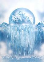 Fantasy World Paintings - Ice Waterfall - Spray Paint On Paperboard