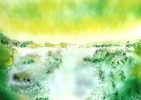 Fantasy World Paintings - Lake Of Transparency - Spray Paint On Paperboard
