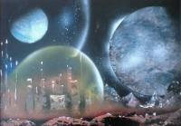 Fantasy World Paintings - Protection - Spray Paint On Paperboard