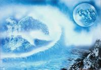 Fantasy World Paintings - Waterfall From Heaven - Spray Paint On Paperboard