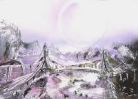 Fantasy World Paintings - Bridge Of Spirits - Spray Paint On Paperboard