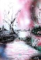Fantasy World Paintings - Porcelain River - Spray Paint On Paperboard