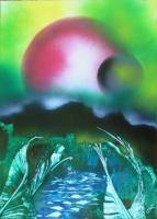 Fantasy World Paintings - Neverland - Spray Paint On Paperboard