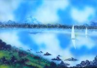 Fantasy World Paintings - Silence - Spray Paint On Paperboard