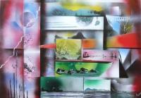 Fantasy World Paintings - Dimensions - Spray Paint On Paperboard
