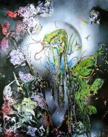 Fantasy World Paintings - Flora And Fauna - Spray Paint On Paperboard