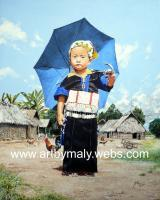 The Little Girl With The Blue Umbrella - Gouache Paintings - By Ma Ly, Realism Painting Artist