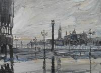 Venice - Early Morning On San Marco - Oil On Canvas