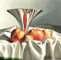 Chrome Compote With Appes - Transparent Watercolor Paintings - By Michael J. Weber Aws, Realistic Painting Artist
