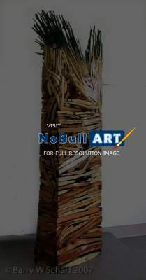 Sculpture - Vertical Dam - Wood And Paint