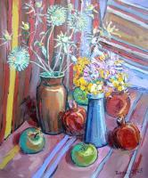 Still Life - Flowers With Fruits And Thorns - Oil On Canvas