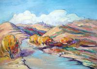 Landscape - Road To Tekhers Church - Oil On Canvas