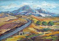 Landscape - Road To Aragats Mountain - Oil On Canvas