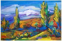Landscape - View Of Aragats - Acrylic On Canvas